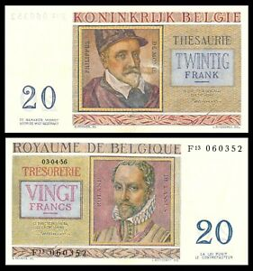 1956 Belgium 20 Francs Banknote *P-132b* *aUNC*