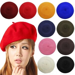 ff7bc9fb Womens Plain Beret Hat Soft Wool French Beret Winter Autumn Girls ...