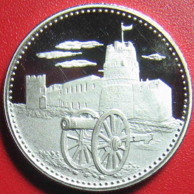 1970 UMM AL QAIWAIN 2 RIYALS SILVER PROOF 19th CENTURY FORT CANNON UAE RARE COIN