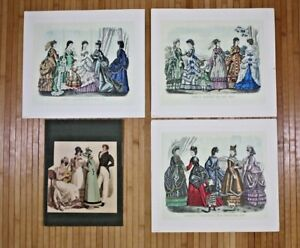 Lot-of-4-Kimmel-and-Forster-Godey-039-s-Fashions-for-December-1870-Prints-Italy