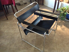 Wassily Style Black Leather and Chrome Chair