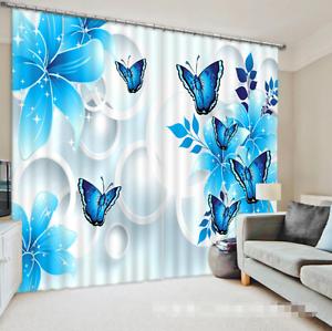 3D Flor Azul 7 Cortinas de impresión de cortina de foto Blockout Tela Cortinas Ventana CA