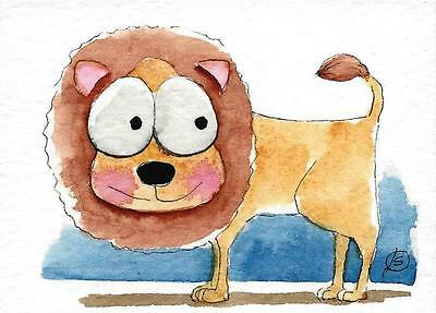 ACEO Original watercolor painting whimsical African animal wild life lion
