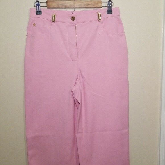 ST. JOHN SPORT rose Flat Zip Front 5 Pocket Solid Pants Sz 4 SM1203