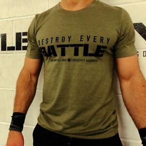 BattleBox UK™ Destroy Every Battle 2 Sueded T-shirt White Cross Fitness WOD Gym