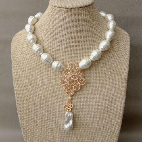 "White Sea Shell Pearl Necklace White Keshi Pearl Propitious Cloud CZ Pendant 18/"""