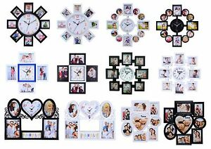 Multi Photo Frame Family Clock Frames Collage Picture Aperture Wall