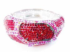 Czech AB Red Crystals Silver Bracelet Pagent Ballroom Dance Latin Bangle Stage