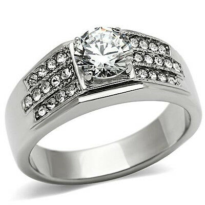 Ring Round 7mm CZ 2.15 CT Clear Cubic Zirconia Stainless Steel Mens Sizes 8-13