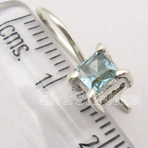 """Argent Sterling 925 Original Square Cut Topaze bleue Belle Boucles d/'oreilles 0.6/"""" nouveau"""