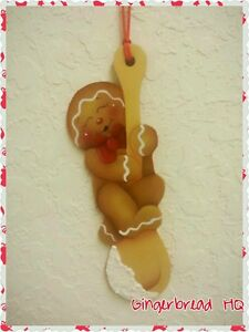 HP Gingerbread Man with a Wooden Spoon, Christmas Ornament. Ginger Decor