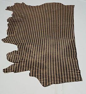 Leather cow hides houndstooth black & tan av 26 sqft upholstery cowhides ts-0403