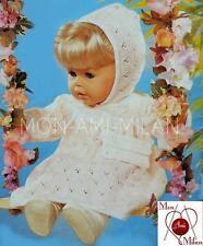 "Knitting Pattern Copy DOLLS CLOTHES PREM BABY DRESS BONNET & BAG 16-24"" Tall"