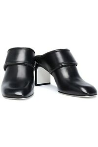 Rag-amp-Bone-Women-Elliott-Leather-Mule-Black-Silver-White-Slide-On-Mid-Heel-Round