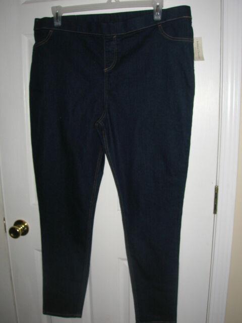 Women's Plus Size Elastic Band Blue No Zipper Jeans 2X T32