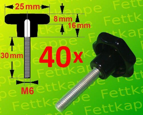 40 x Sterngriffschraube M6x30 mm Griff schwarz Ø25mm Sternschraube Klemmgriff