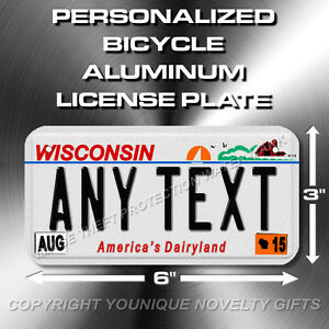 Wisconsin ANY TEXT Bicycle Bike Scooter Power Wheels License Plate Black Text