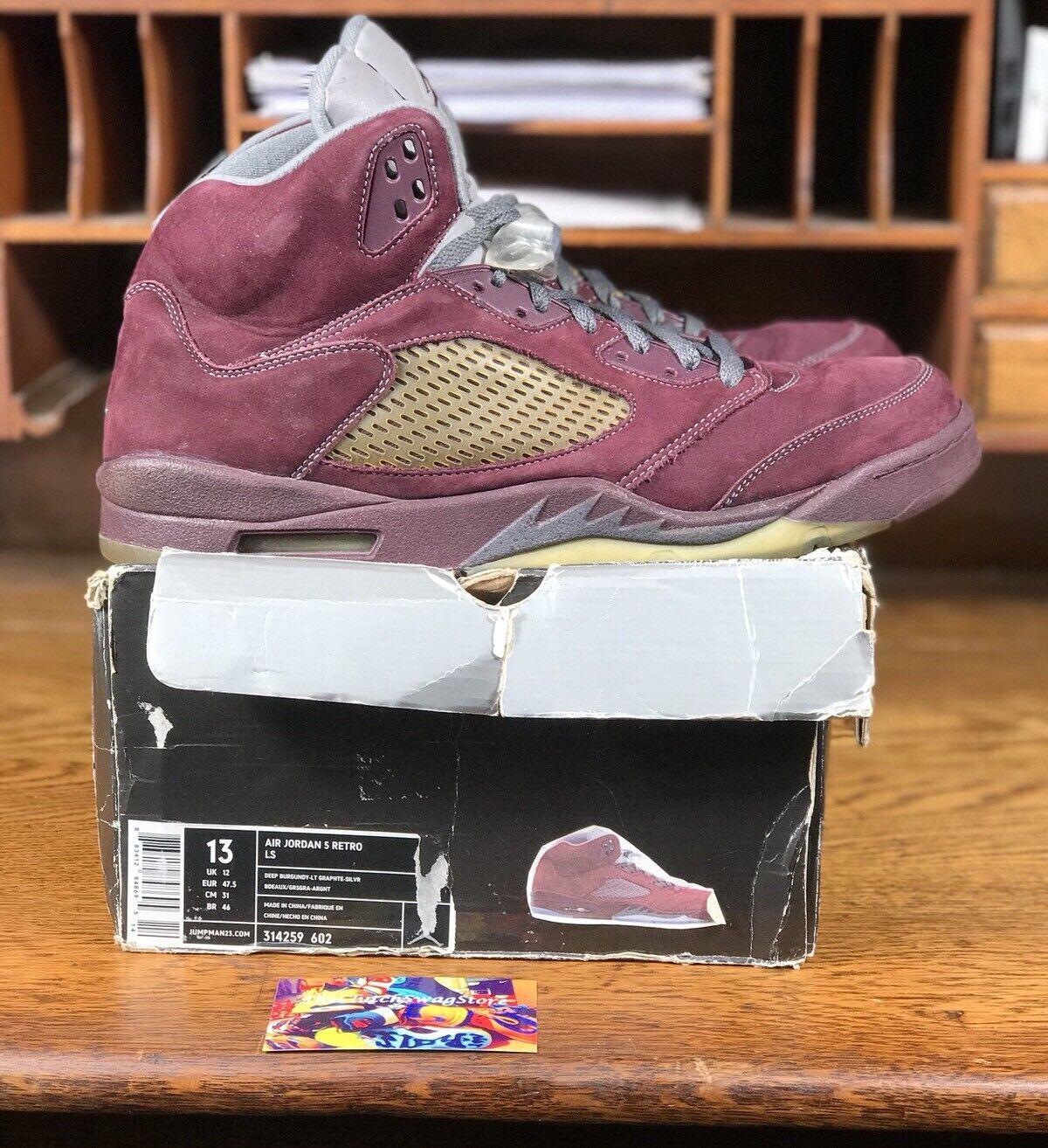 9f4ad90c170 2006 Nike Air Jordan 5 Retro LS Burgundy Men shoes (314259-602) Size ...