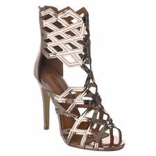 c97a85d3b1e Versace Metallic Gold Bronze Medusa Head Palazzo PEEP Toe High Heel ...