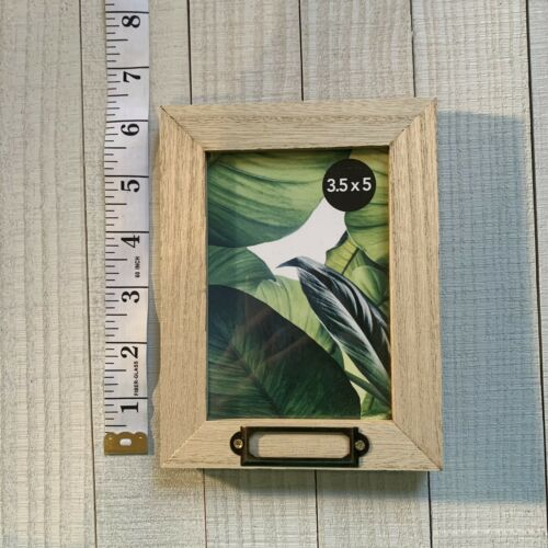 """Lot Of 3  Small Picture Frame For 5"""" By 3.5"""" Weathered Wood Look With Placard"""
