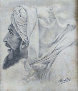 Charcoal-drawing-on-laid-paper-ingres-portrait-late-19eme-oriental-touareg