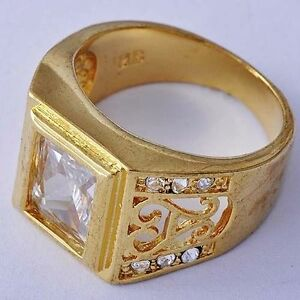 Fashion jewelry vintage yellow gold plated clear cz mens for Is gold plated jewelry worth anything
