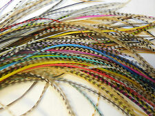 """100 6-9"""" NAT & DYED MIX WHITING GRIZZLY ROOSTER SADDLE FEATHER HAIR EXTENSIONS"""