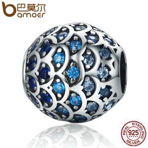 Bamoer-European-925-Silver-charm-Daughter-Of-Sea-Blue-CZ-Fit-Bracelets-Jewelry