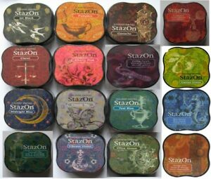 Stazon-Midi-INK-PADS-for-metal-glass-plastic-paper-amp-more-Assorted-Colours