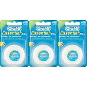 3-x-Oral-B-Essential-Filo-Interdentale-Cerato-alla-Menta-50m-Medio-rimuovere-la-placca-amp-batteri