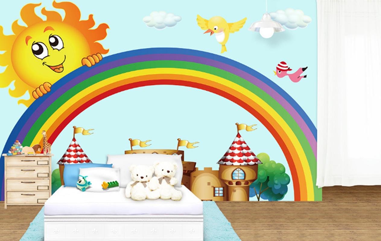 3D Sun Regenbogen Haus 7888 Tapete Wandgemälde Tapeten Bild Familie DE Summer | Fuxin  | Günstige Bestellung  | Großer Verkauf