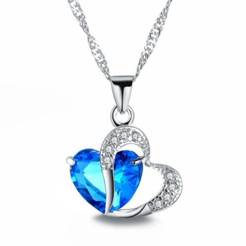 Halskette Herz Kristall Damen Kette Liebe Schmuck Geschenk Frauen Heart Love