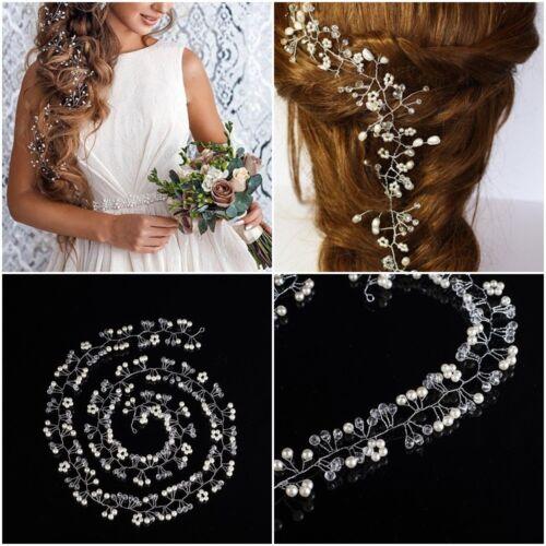Damen Hochzeit Party Strass Perlen Haarschmuck Haardraht Haarband Brautschmuck