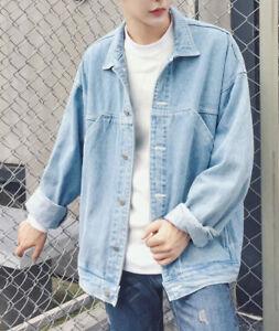 UK-Men-039-s-Denim-Coat-Wash-Vintage-Jacket-Loose-Long-Sleeve-Casual-Jean-New-Coat