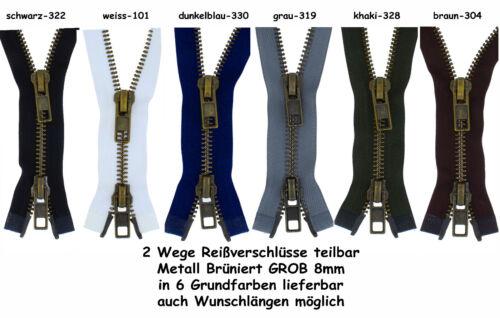 2 Wege Reißverschluss 2-MBG Metall 8mm GROB starke Metallreißverschlüsse teilbar