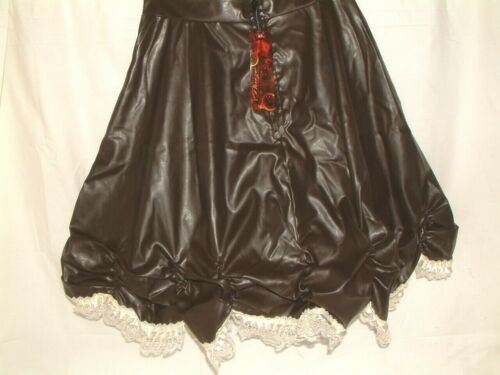 EDWARDIAN STYLE BROWN FAUX LEATHER LACE SKIRT SIZE 14