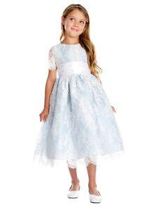 Details About New Flower Girls Light Blue Lace Dress Wedding Easter Party Formal Elegant 724
