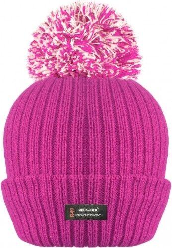 Mens Ladies Thermal Pom Pom Bobble Beanie Hat Rockjock Fleece Lined Winter Hat