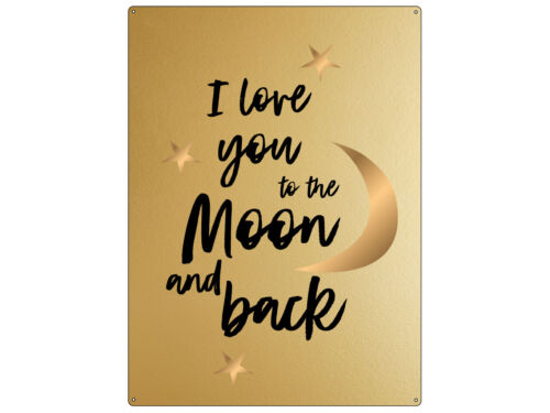 30x22cm GOLD Wandschild I LOVE YOU TO THE MOON AND BACK Mond Liebe Freundin