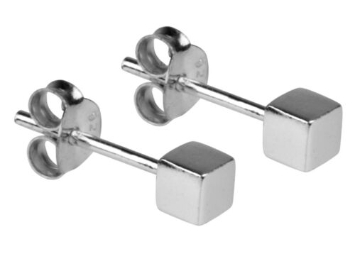 Sterling Silver Cube Stud Earrings UK Quality Free Gift  Box    Adult Child