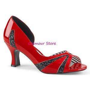5 46 Al nero Glitter Tacco Glamour 39 Rosso Scarpe Spuntate Decolte' Dal Sexy 7 gPIwq