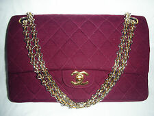 $4900 VINTAGE CHANEL 2/55 BURGUNDY WOOL JERSEY DOUBLE FLAP CHAIN BAG