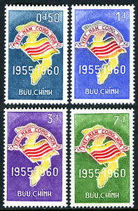 Viet Nam South 146-149, MNH. Map and Flag of Viet Nam. Republic, 1st anniv. 1960