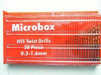 20 Titanium coated mini Micro HSS drill bit set 0.3 - 1.6MM in dispencer Case