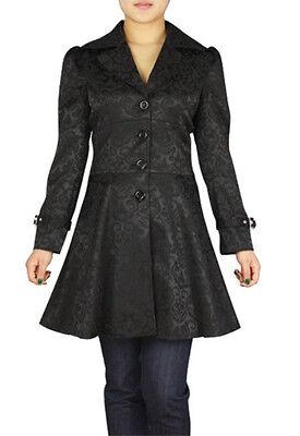 Plus Size Jacquard Gothic Steampunk Black Lace Up Ruffled Jacket 1X 2X 3X 4X