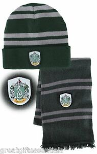 HARRY POTTER Slytherin House  LICENSED  HAT   WOOL SCARF w  CREST ... 72dac7b93c0