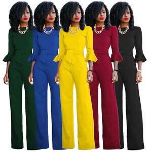 4c83fb14280 New Women s Casual Long Sleeve Jumpsuit Romper Wide Leg Pants ...