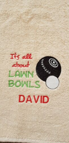 Personalised embroidered bowling towel. Birthday/Father's Day Present