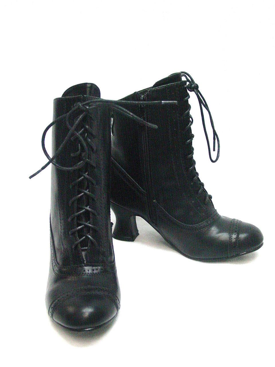 Viktorianska Viktorianska Viktorianska Granny Boot -liknande svarta spetsbyxor med gylf Faux Vegan pläder ny  shoppa nu
