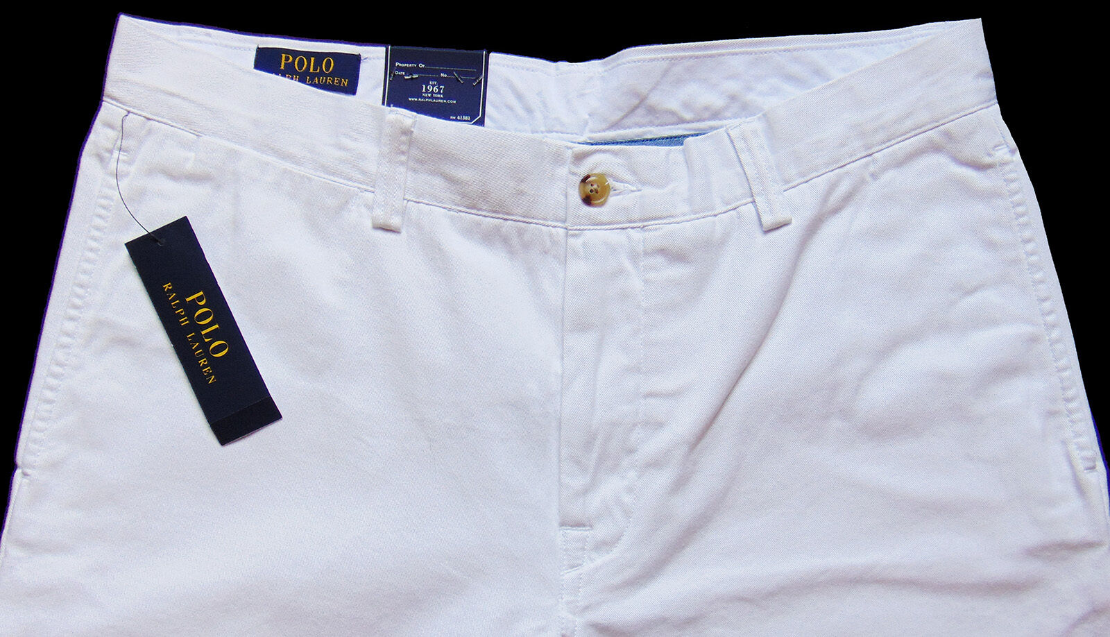 Men's POLO RALPH LAUREN White  Cotton Pants 34x32 NWT Bedford Classic Fit DeFeCt